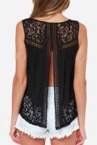 Round Neck  Backless  Hollow Out Plain Vests