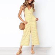 Fashion Sleeveless Stripe Jumpsuits