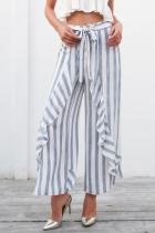 Stripe Belt Wide Leg Flouncing Floral Pants