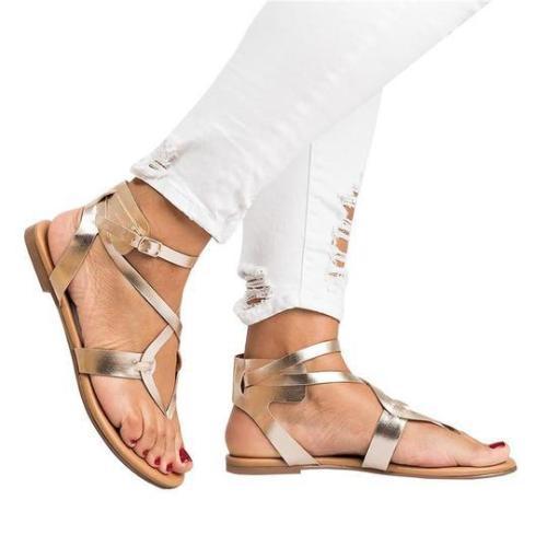 Fashion Thin Belt Clip Toe Flat Sandals