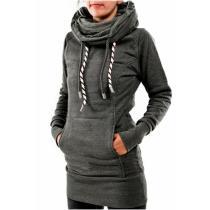 Pentagram High Collar Drawstring Women's Long Hoodie