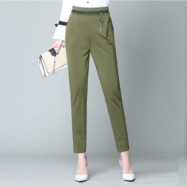 Plain Harem Lace-up Cotton OL Women's Pants