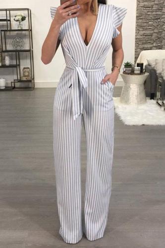 Deep V Neck  Backless  Striped  Short Sleeve Jumpsuits