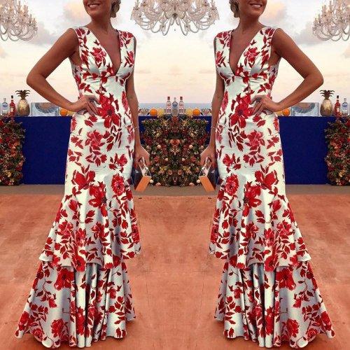 Floral Plunge Ruffles Layered Hem Evening Dress