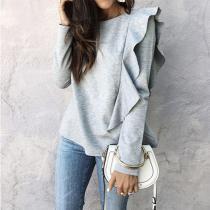 Ruffled Long Sleeve Sweater Women's Sweater Autumn