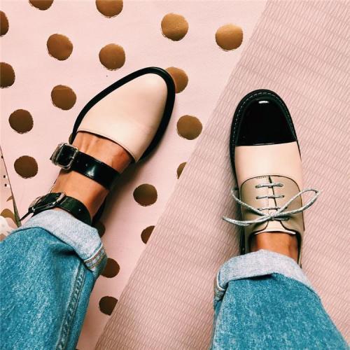 Fashion Blue Patchwork Buckle Flat Sandal