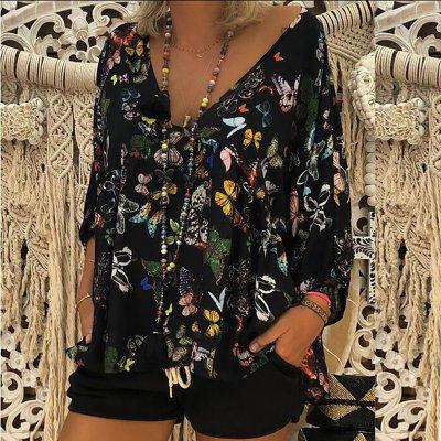 Long Sleeve V Neck Floral Print Loose Tops Blouse