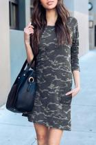 Scoop Neck  Camouflage  Long Sleeve Casual Dresses