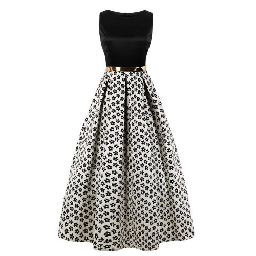 Plus Size Women Printed Sleeve Less Evening Dress