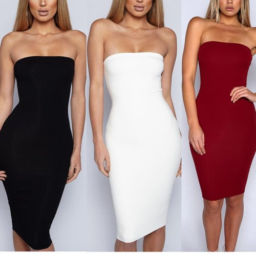 Sexy Strapless Collar Solid Color Bodycon Dress