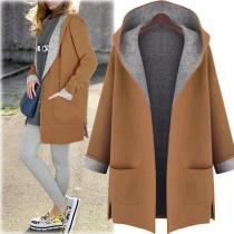 Hooded Cardigan Wool Coat Loose Overcoat