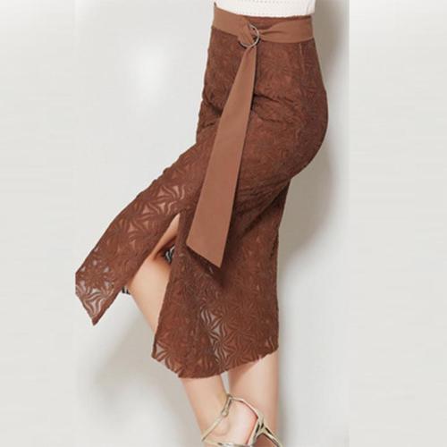 Mid Waist Plain Lace Forking Women's Skirt