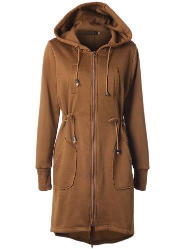 Hooded Drawstring Patch Pocket Plain Longline Coat