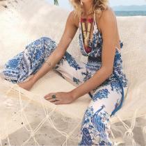 Beach Wind Peacock Print Strap Jumper Trousers