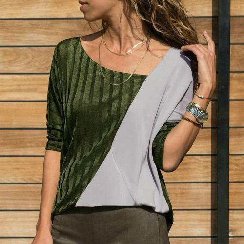 Round Neck Color Block Patchwork Long Sleeve T-Shirts