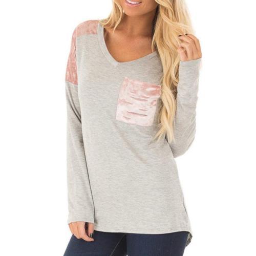 V-Neck Stitching Pocket Shirt Long Sleeve Sweatshirt