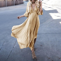 Asymmetric Deep V-Neck Maxi Dress