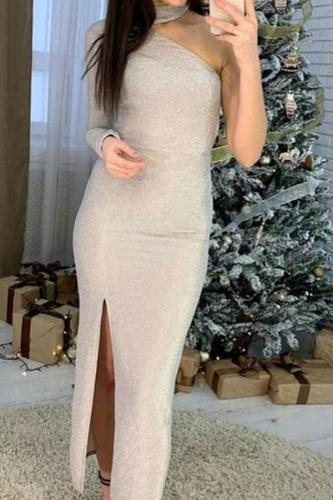 Sexy Sequins Long Sleeve Pure Colour Evening Dress