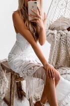 Glamorous Sexy Spaghetti Straps V Collar Sleeveless Plain Tassels Evening Dress