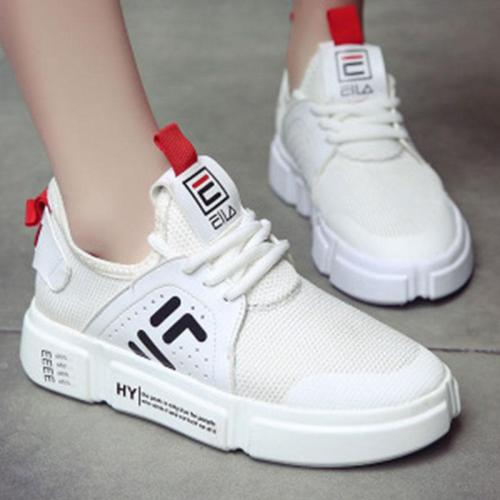 Round Toe Lace Up Mesh Breathable Sneakers