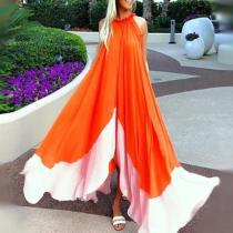 Sleeveless Round Neck Chiffon Beach Maxi Dress