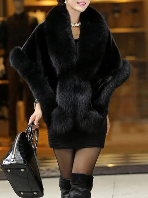 Cape Sleeve Faux fur Solid Winter Casual Poncho