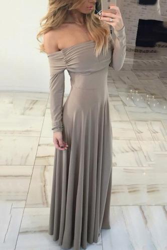 Cutaway Shoulder Long Sleeves Evening Dress