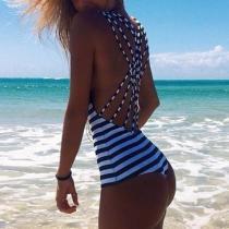 Stripe Strap Bikini Swimsuit