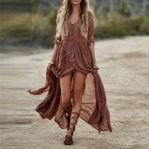 Elegant V-Neck Plain Maxi Dresses