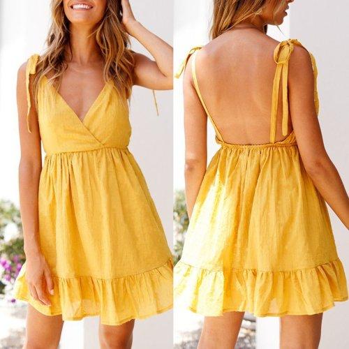 Sexy Fashion Backless Sleeveless Casual Dresses