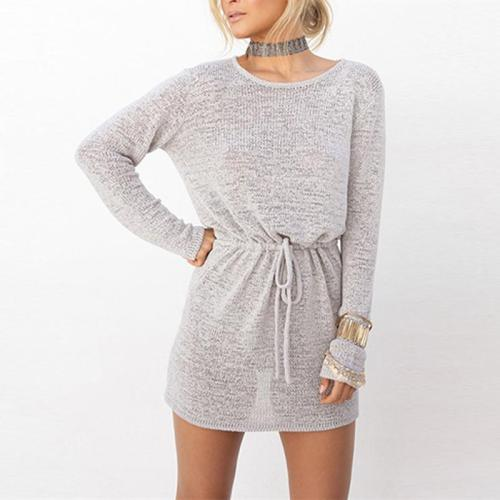 Round Neck Hollow Out Backless Long Sleeve Knitting Casual Dress