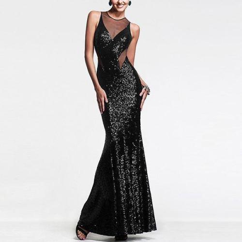 Sexy Women's Mesh Stitching Sequin Evening Dress