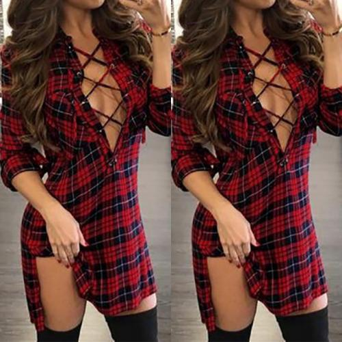 Fashion Plaids Lace Up Sexy V Neck Split Casual Dress
