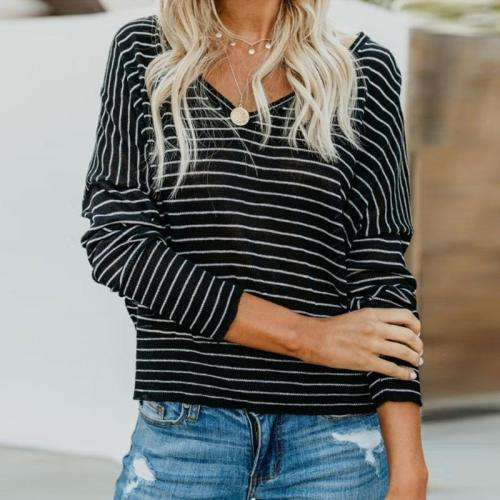 V Neck  Striped  Batwing Sleeve T-Shirts