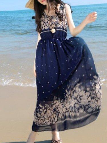 Round Neck  Elastic Waist  Floral Printed Maxi Dress