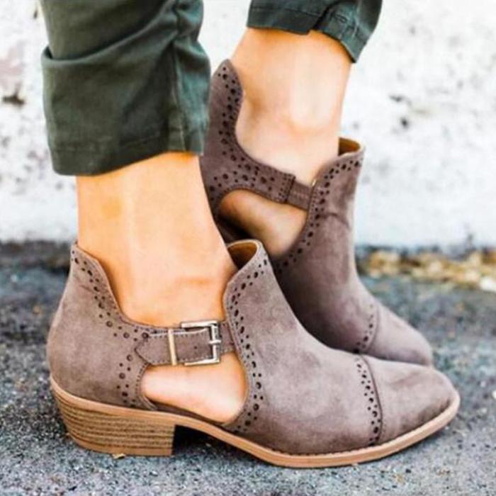 Plain Chunky Mid Heeled Velvet Point Toe Outdoor Ankle Boots