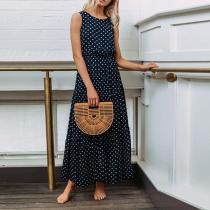 Round Neck Polka Dots Sleeveless Maxi Dress