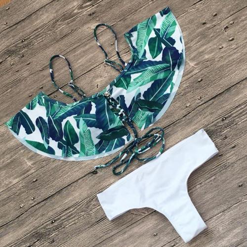 Lotus Leaves Halter Bikini Swimwear