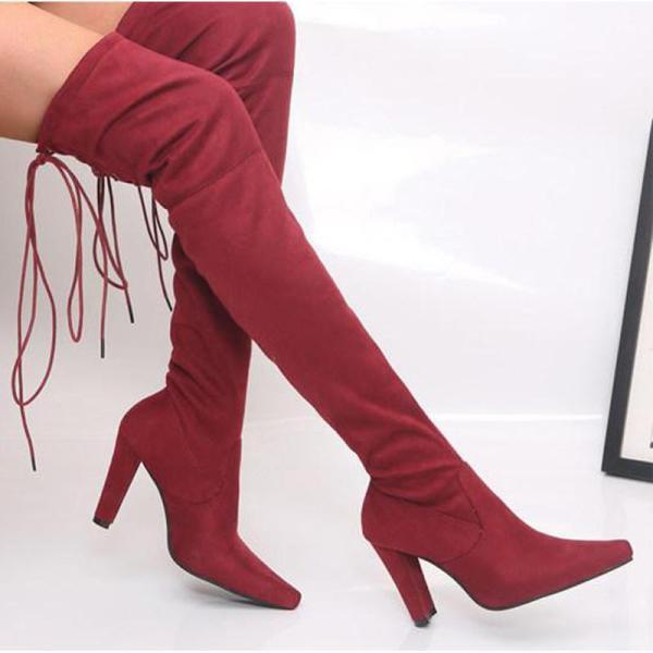 Plain Chunky High Heeled Velvet Point Toe Date High Heels Boots
