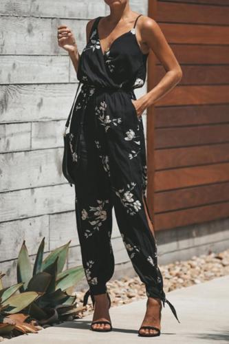 V Neck  Elastic Waist  Print  Jumpsuits