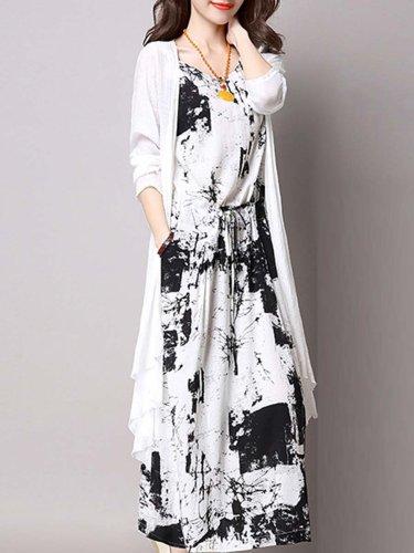 Casual Drawstring Printed Two-Piece Maxi Dress