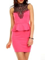 Band Collar  Decorative Lace  Plain Bodycon Dress