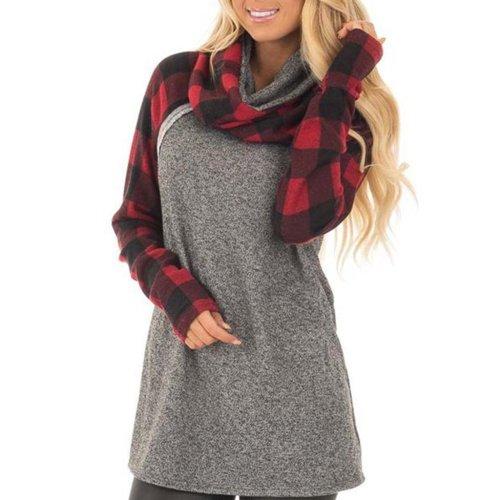 Plaid Stitching Fashionable Hoodie