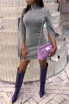 Fashion Sexy High   Collar Sparkling Crystali Mini Dress