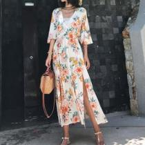 Casual V Neck Halflong Sleeve Loose Printed Colour Maxi Dresses