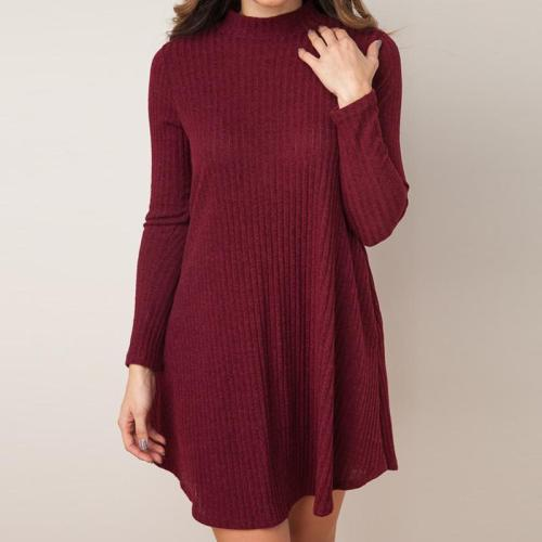Turtle Neck Long Sleeve Plain Knitting Casual Dresses