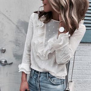 Fashion Round Neck Ruffle Sleeve Elegant Blouse