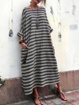 Oversized Striped Round Neck Pocket Maxi Dresses