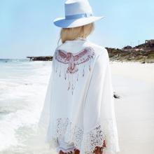 Printed Lace Sleeve Bikini Blouse Beachwear