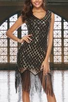 Sexy Sleeveless Sequins Tassel Evening Dress